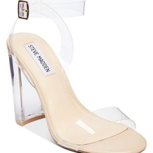 Steve Madden Camille clear strap heels. Size 9.